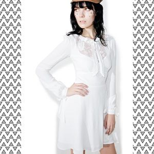 For love & Lemons Ellery white tie front dress L